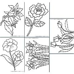 Borduurkaarten bloem motieven