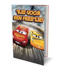 Uitnodigingskaart Cars met gratis felicitatiekaart