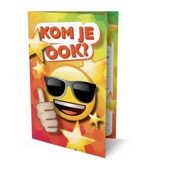 Uitnodigingskaartjes Emoji met GRATIS A5 felicitatiekaart