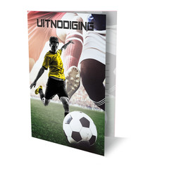 Uitnodigingskaarten  'voetbal' met felicitatiekaart