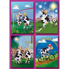Prentkaarten sportende koeien