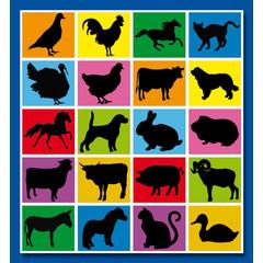 Stammetjes Dieren Sihouetten - Stickervel