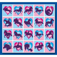 Stammetjes Paardjes met Hartjes - Stickervel