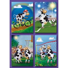 Kleine kaarten sportende koeien