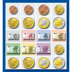 Stammetjes Stickervel geld   euro's en biljetten