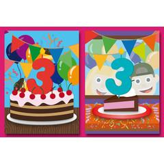 A5 Felicitatiekaart voor de driejarige!