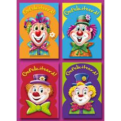 A6 Prentkaarten clowns