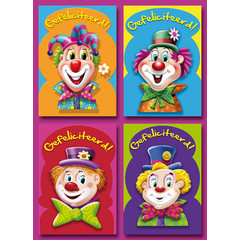 Prentkaarten clowns