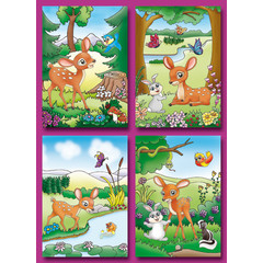 Prentkaarten getekende bambies