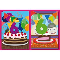 A5 Grote kaarten felicitaties voor 6 jaar