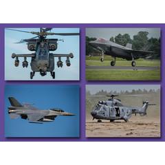 Kleine kaarten militaire vliegtuigen