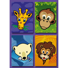 Kleine kaarten dierenkoppen