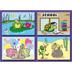 A7 Kleine kaarten funny reptiles