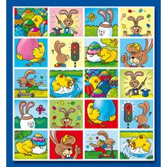 Stammetjes 'Vrolijk Pasen' in kleurrijke beelden - Stickervel