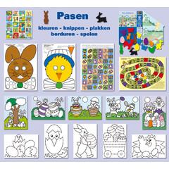 Pasen - kleuren - knippen - plakken - borduren - spelen