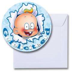 Ronde kaart gefeliciteerd baby blauw