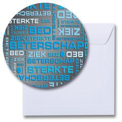 Ronde beterschap kaart blauw-zwart