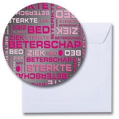 Ronde beterschapskaart roze-zwart
