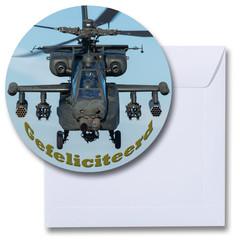 Ronde kaart gefeliciteerd helikopter