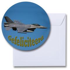 Ronde gefeliciteerd kaart straaljager