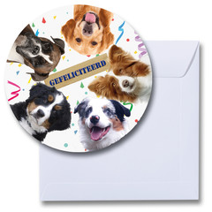 gefeliciteerd kaart honden