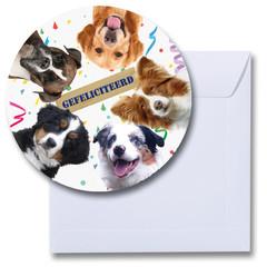 Ronde kaart gefeliciteerd honden