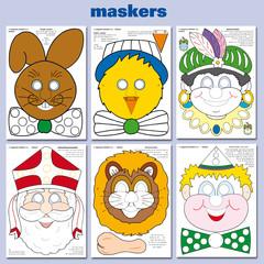 Maskers Sinterklaas  Pasen divers (om zelf te kleuren)