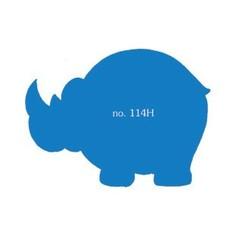 Plakfiguren neushoorn in gemengde kleuren