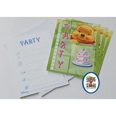 Uitnodigingskaartjes Winnie the Pooh (groen)