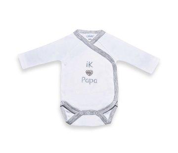 Babyromper Papa grijs-wit