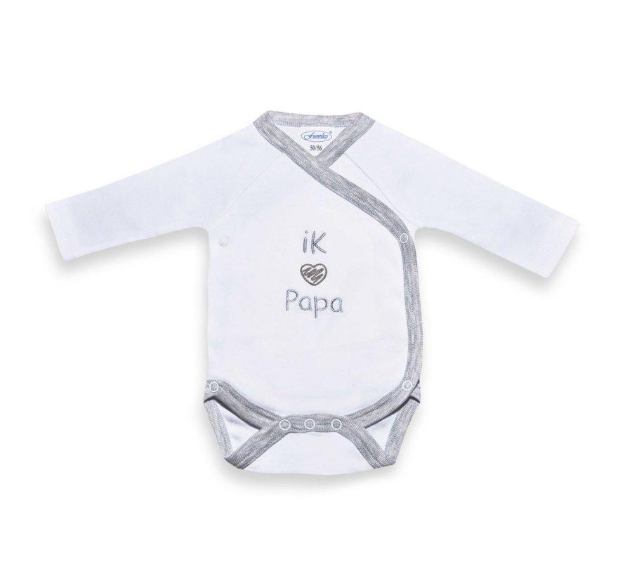 Babyromper Papa grijs-wit maat 50-56