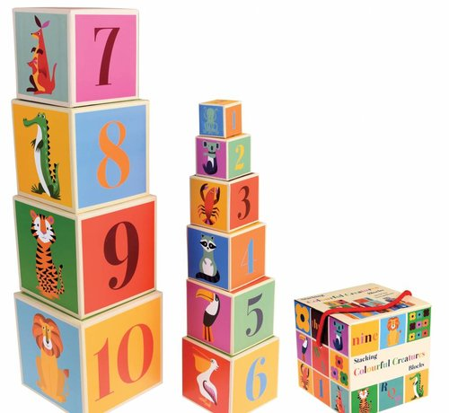 Rex London Stacking blocks colorful creatures