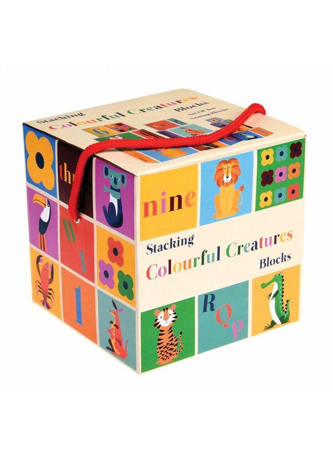Stapelblokken kleurrijke dieren