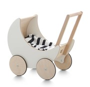 Ooh noo Design Poppenwagen,Wit/Hout
