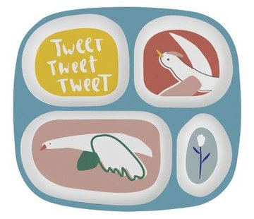 Sebra Melamine plate with 4 compartments Singing Birds Sebra