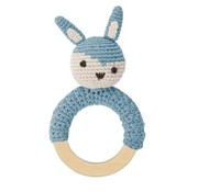 Sebra Crochet rattle, rabbit on ring,