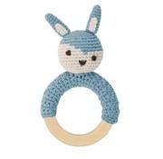 Sebra Rammelaar,lichtblauw gehaakt konijn