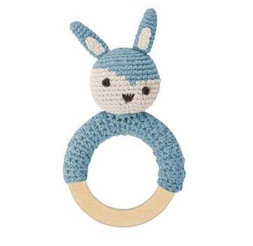 Sebra Crochet rattle, rabbit on ring,