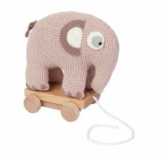 Sebra Crochet pull-along elephant, old pink