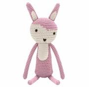 Sebra Knuffel, vintage roze gehaakt konijn