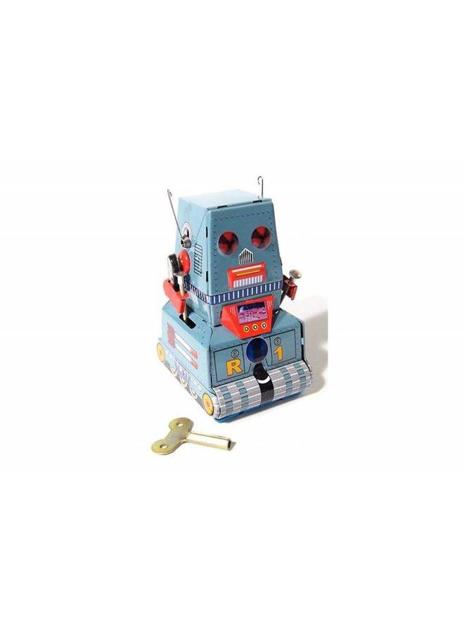 Tinnen tankrobot-decoratie