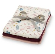 CamCam Muslin Cloth, mix pink leaves, 3pcs