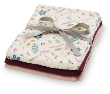 CamCam Muslin Cloth, mix pink leaves, 3pcs