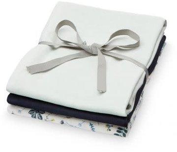 CamCam Muslin Cloth, mix blue leaves, 3pcs