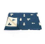 Ted&Tone Deken 75*100, blauwe blokken, gebreid