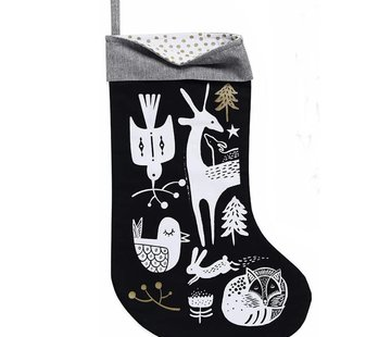 Wee gallery Christmas stocking, winter animals, white on black