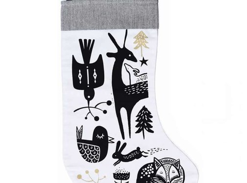 Wee gallery Christmas stocking, winter animals, black on white