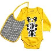 Coq en pâte Gift set Body long sleeves & bib, zebra