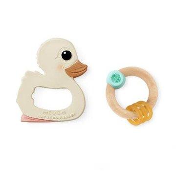 Hevea Giftset, rattle & teething ring