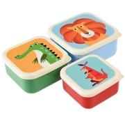 Rex London Snackdoosjes (3st), kleurrijke dieren